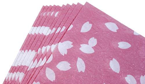越前和紙 ランチョンマット 春柄/桜吹雪薄ピンク
